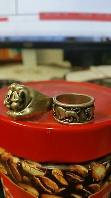 silver ring beautiful pair of silver rings not stamped lot of 2