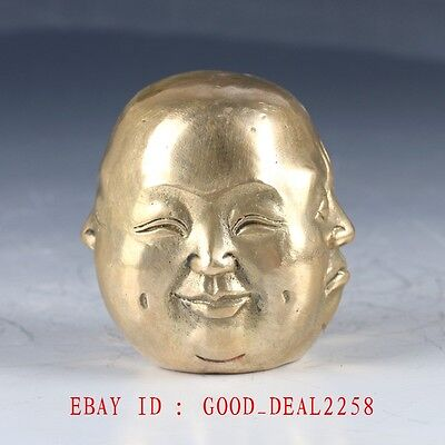 Old Brass Hand Made Buddha 4 Faces Statue (Pleasure, anger, sorrow, joy)HT123
