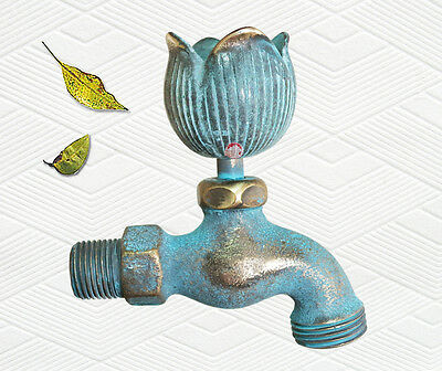 """Decorative Brass Tulip Garden Outdoor Faucet 4"""" inches L - set of 3 pieces"""