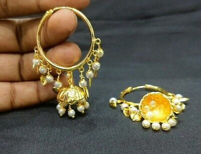 Bollywood Fashion gold plated White pearl beds bali Earring  lcer_1017_er024