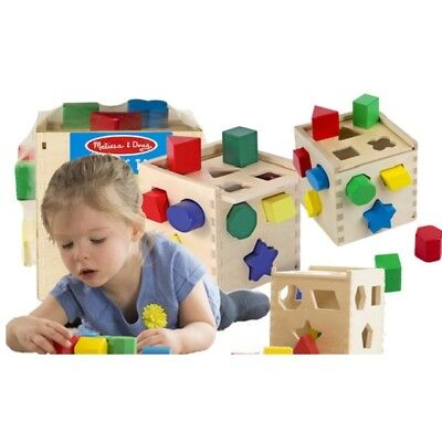 Shape Sorter Cube Wooden Toy Baby Sorting Blocks Colorful Activity Puzzle Box