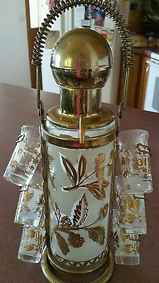 Vintage Aldon Liquor Dispenser with caddy and 6 matching  shot glasses.