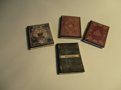 4 Dolls House Miniature  Witches Books Set 1