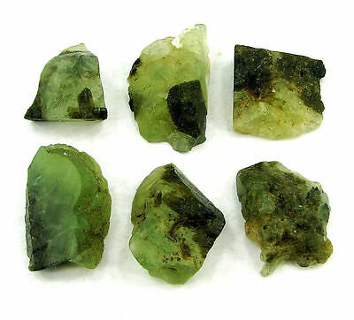 200.00 Ct Natural Green Prehnite Loose Gemstone Rough Stone Lot of 6 Pcs - 7462