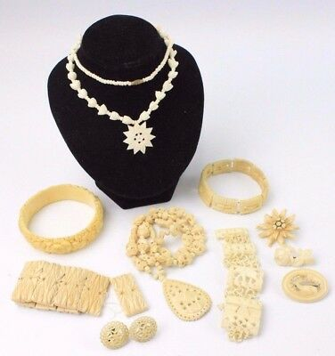 Collection of Vintage YAK BONE Hand-Carved Jewellery inc. DAMAGE / REPAIRS