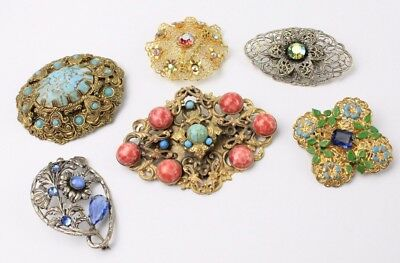 Lot of 7 x CZECH Filigree Metal Stone Set Costume Brooches inc. MAX NEIGER Style