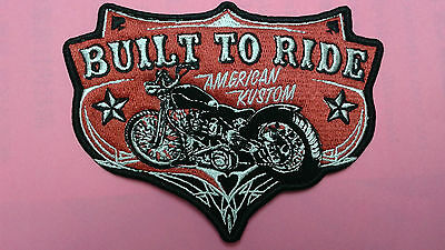 "1 pc BUILT TO RIDE BIKER EMB. PATCH 5""x3-3/4"" SEW-ON"