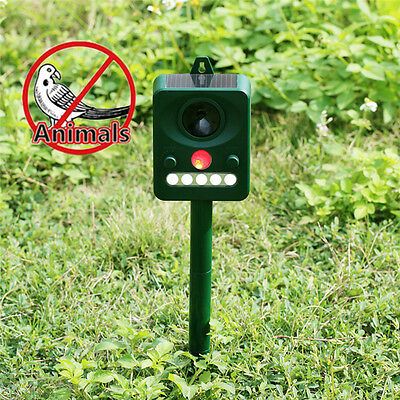 Solar Infrared Light Ultrasonic Repeller Drive away Sonic Bird Control Device