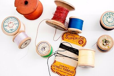 10 x vintage wooden reels of sewing thread