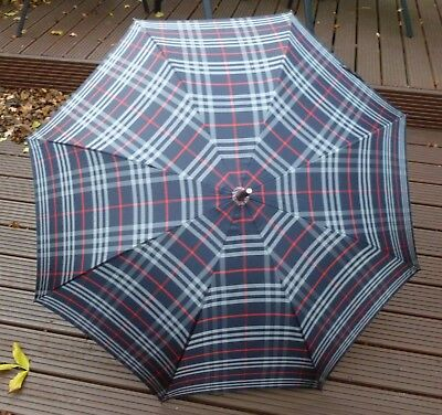 Burberry Vintage Blue Check Walking Umbrella - Automatic Opening - Used