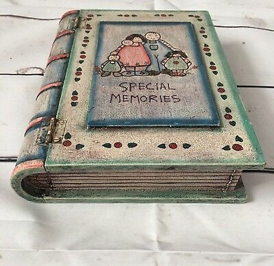 East Of India Wooden Handmade + Painted Memory/keepsake SECRET BOOK BOX