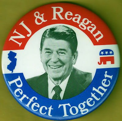 NJ & Reagan Perfect Together Presidential Pinback Campaign Button