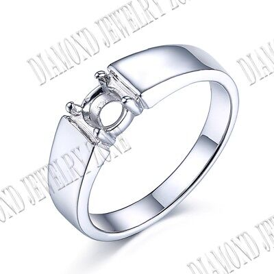 5-6mm Sterling Silver Semi Mount Round Solitaire Prong Setting Simple Style Ring