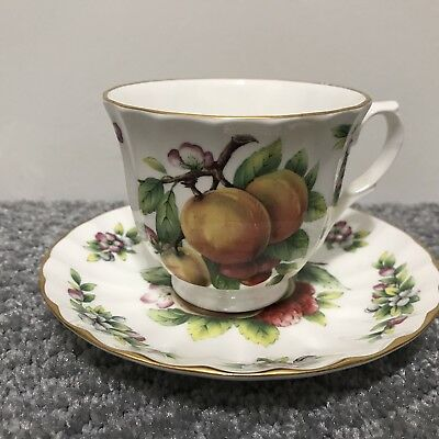 Crown Trent Staffordshire Tea Cup and Saucer Showing Fruit, Berries and Flowers