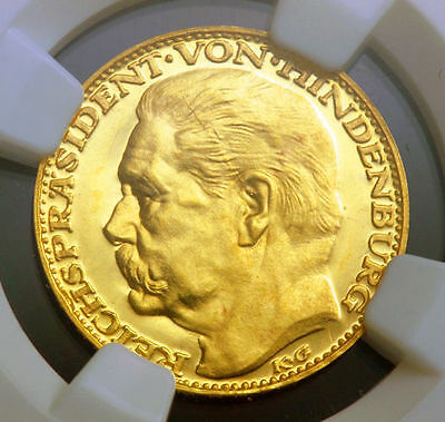 1928, Germany, Paul von Hindenburg. Medallic Proof Gold 10 Mark Coin. NGC PF-64!