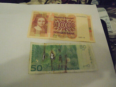norway 100 kronor almost unc+broken 50 kronor still valid