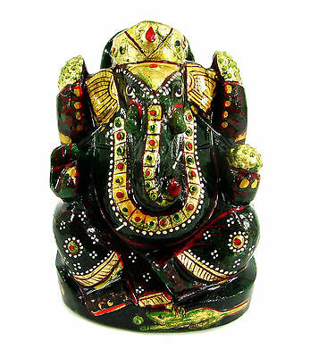 1448.00 Ct Natural Green Aventurine Gemstone Ganesh Ji God Figure Stone - 10242