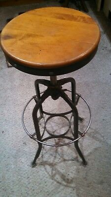 Vintage Toledo Swivel Top Stool Clerk's Stool Drafting Stool