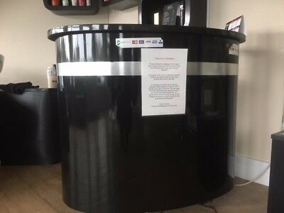 beauty salon reception desk black with silver lines