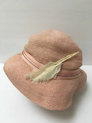 Gage Bros 1930s Boater Hat Pink With Feather Art Deco Fashion