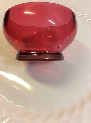 Pretty Victorian Cranberry Glass Footed Salt Dish
