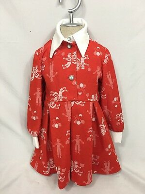 Dorissa of Miami Girls Dress Sz 3 Red Pleated Polyester Long Sleeve Vintage 60's