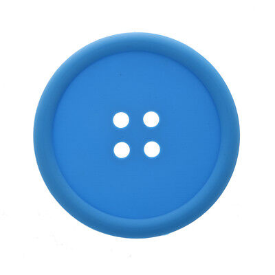 2X(Big Button Silicone Coaster Retro Drinks Placemat - Blue SN