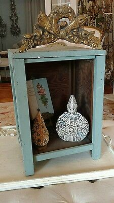 SHABBY Antique VTG WOOD display case WITH FRENCH BARBOLA TOP AS IS