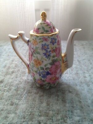 'Regal' Porcelain Miniature Teapot Floral Chinz Style Pattern