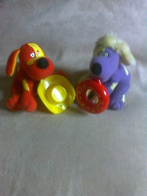 Dogs from the tweenies x2 one red one purple toys