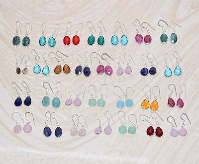 31 Pcs Wholesale Lot!! 925 Silver Plated Ruby,sapphire & Mix Gemstone Earrings