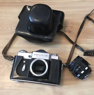 A Zenit B Camera With Lens And Leather Case