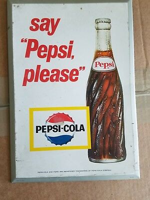 "Vintage 1960's PEPSI COLA say ""Pepsi please"" 12"" x 8.25"" Wall Display Sign"