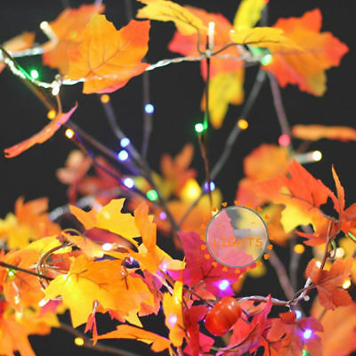 Autumn Leaf 10 LED Fall Leaves String Light Battery Operated Lamp Garland Decor
