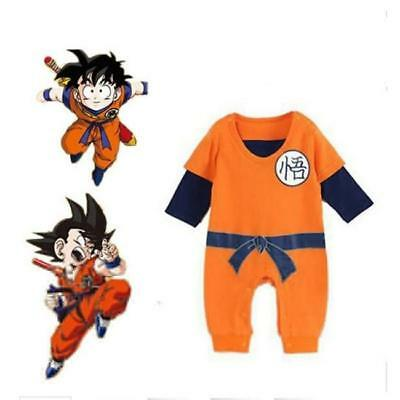 Halloween Newborn Baby Boys Dragon Ball Z Romper Goku Costume Short Sleeve DD