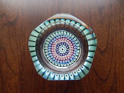 Vintage Whitefriars Glass Millefiori Window Cut Paperweight - Date Cane 1970
