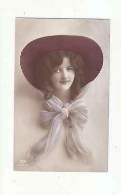 Charming Postcard Head Poseof A Teenage Girl In A Large Hat & Chifon Scarf-E.a.s