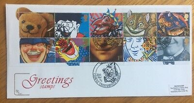 1991 Greetings Stamps FDC With Clowne Chesterfield Cancellation