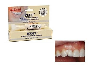 Dr Denti Tooth Refit - Temporary Dental Fill Cement for Caps & Bridges Dentist