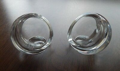 Vintage Pair of Riihimäen Lasi Oy/Riihimaki Clear Orb Bowls or Pots - Signed