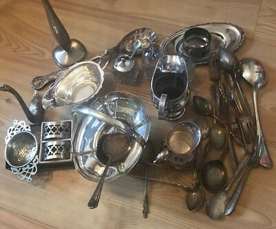 A Huge Job Lot Of Vintage Silver Plate Items