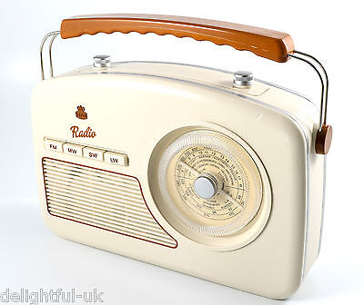 GPO Rydell Radio Portable Retro Vintage Four Band Analogue MW LW FM SW - CREAM