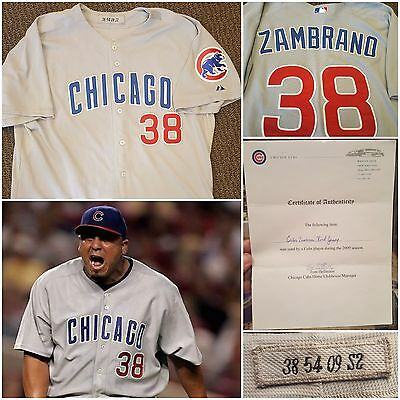 2009 Carlos Zambrano Game Used Road Grey Chicago Cubs Jersey Cubs COA & MEARS