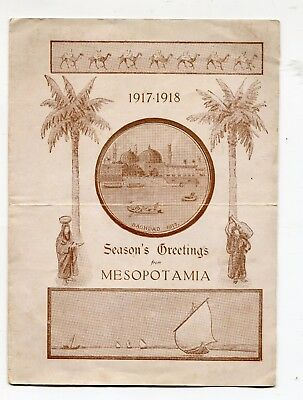 Mesopotamia Soldiers YMCA Xmas Card Bagdad & Insert (1917) Iraq