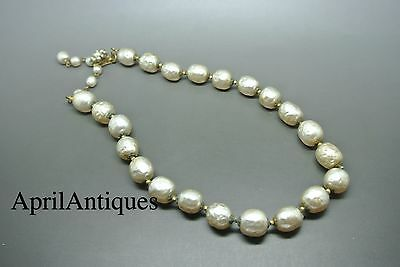Vintage Miriam Haskell Filigree baroque faux pearl glass beaded necklace