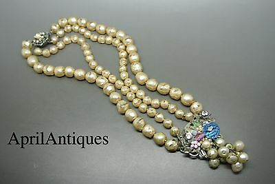 Vintage Miriam Haskell Filigree faux pearl glass pendant drop necklace