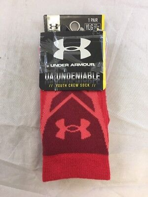 NWT Under Armour Undeniable All Sport Crew Red Socks Sz:YLG (sb)