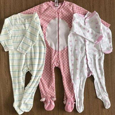 Girls Sleepsuits one piece Age 12-18 Months 4x