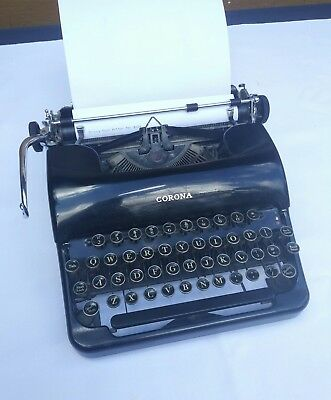 1938 SMITH CORONA Apothecary Black Speedline Silent Typewriter