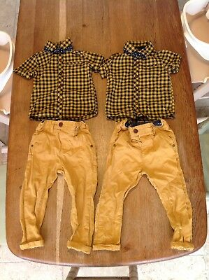 Two Boys/twin Next Outfits 12-18 Months Mustard Colour Chinos & Blue Check Shirt